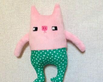 Porky small stuffed piggy fabric doll stuffed animal