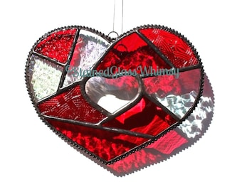 Stained Glass Heart Suncatcher, Patchwork Reds Iridescent Clears, Clear Beveled Heart, Handmade Red Heart, Patchwork Heart, Heart Suncatcher