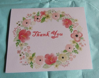 Watercolor Floral Wreath Handmade Thank You Note Cards Set of 5 with Envelopes