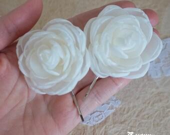 White Garden Rose Hair ivory rose hair clip | etsy