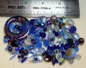 BEAD SOUP - DESTASH - blues - czech press glass, art glass, vintage glass, crystals - variety - beads PG900