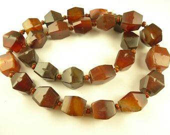 """22"""" faceted Idar-Oberstein agate carnelian stone beads African trade AF-0028"""