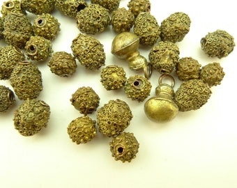 38 pcs Yoruba granulated brass beads gold wash components African trade AE-0044