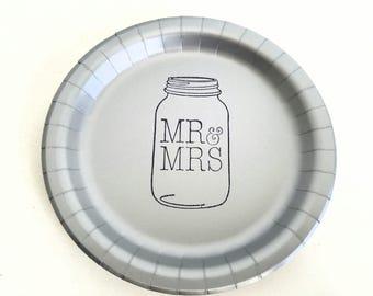 Mr & Mrs Silver Mason Jar Wedding Paper Cake Dessert Plates - Set of 20