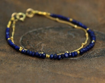 Lapis Lazuli Bracelet. Delicate Jewelry. Double Layer Bracelet. Also in Earthy Garnet or Labradorite, Gold or Silver. B-2193-5