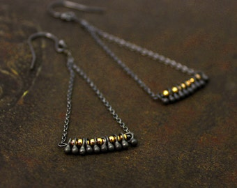Mixed Metals earrings. Chandelier Earrings. Fringe Earrings. Triangle Earrings. Black 925 Silver and 14k Gold Fill. E-2223