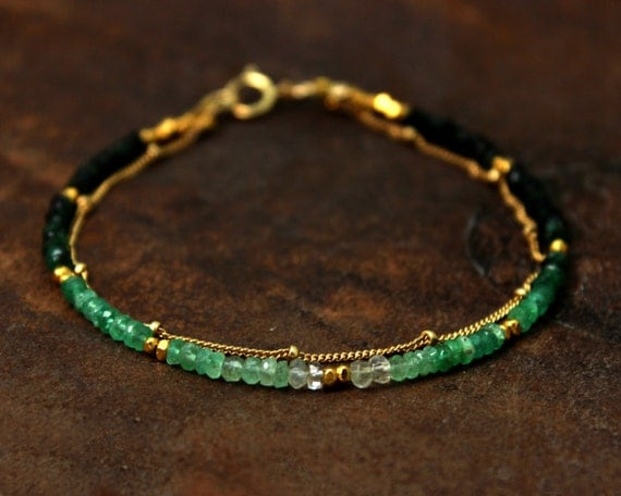 Emerald Bracelet. Ombre Beaded Bracelet. Double Layer Bracelet. Also in Emerald or Ruby, Gold or Silver. B-2193-2