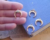 3 Gold With Turquoise Small Heavy Duty Horn Half Moon Pendant Charms Dainty 18mm (GC3172)