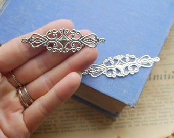 20 pcs Antique Silver Filigree Setting Base Brooch Cab Setting Wrap Connector Pendant (SFC3242)