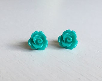 Dark Aquamarine Rose Stud Earrings