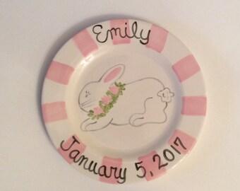 Personalized Pink Rabbit Birth Plate