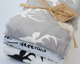 Oversized Baby Burp Cloths by JuteBaby - Grey Deer & Feathers