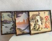 Vintage wood framed set 3 Japanese silk fabrics of Kabuki dancers, house and scenery