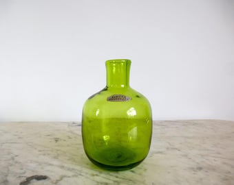 Mid Century Blenko Bud Vase Candle Holder Joel Myers Green Vintage 6424