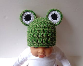 Ready to Ship Newborn Frog Hat Photo Prop, Baby Boy, Baby Girl, Knit Hat Crochet Hat Animal Hat