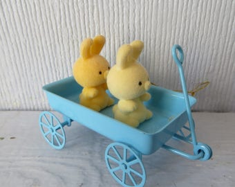 Vintage Avon Miniature Bunnies in Wagon Collectible Spring Easter Decor