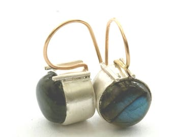 Sterling Silver Labradorite Earrings, Bezel Set Labradorite Cabochon Dangles  Blue Gemstone Earring Drops, Artisan Handmade by Sheri Beryl