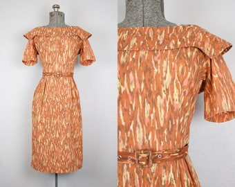 1950's Brown Bark Print Cotton Wiggle Dress / Size Small