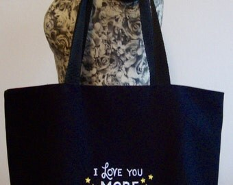 Black shoulder bag 'I love you more than all the stars in the sky'