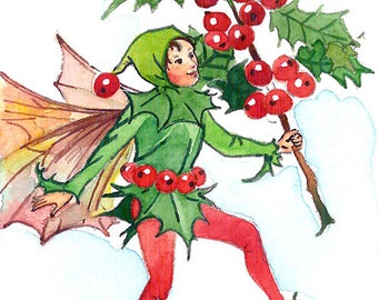 ACEO Limited Edition 1/25-Holly fairy inspired by Cicely Mary Barker,Flower fairy art print of original ACEO watercolor