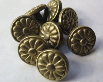 Mid Century Dresser Knobs Cabinet Pulls Set of 8 Matching Eight 1960s 1970s Daisy Floral Goldtone Metal 1.25 Inch Diameter Retro Decor