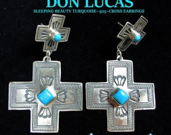 DON LUCAS~Santa Fe~Sleeping Beauty Turquoise~Hand Stamped~925~Cross Earrings~Free Shipping!