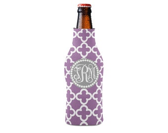 Personalized Bottle Insulator, Monogram Purple Clubs - DIY Custom Bottle Insulated Beverage Container