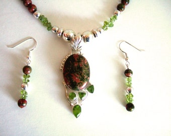 Unikite Stone Pendant Necklace Gorgeous Sparkly Quartz Necklace Ethereal Peridot Agate Necklace Green & Orange Unique Gift for Her ON SALE