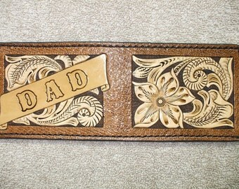 Custom Western billfold / wallet. Dad wallet.  (134)  ( I ship the same day as you order )