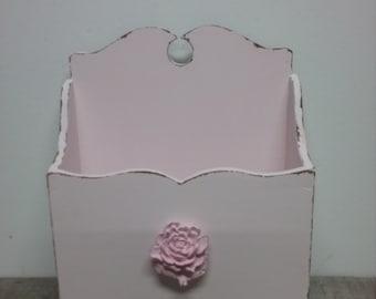 Shabby Mail Holder, Pink Letter Holder, Mail Holder, Letter Holder, Shabby Chic, Pink Decor, Rose Decor, Flower Box, Distressed Home Decor