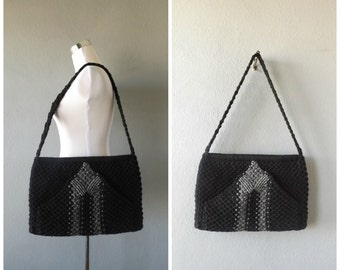 Black Macrame Oversize Purse | Vintage 60s Handmade Woven Shoulder Bag Crossbody Handbag Hippie Boho Large Envelope Bag 1960s OOAK Hippy Bag