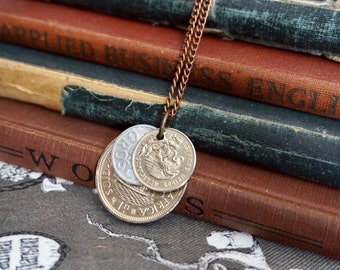 Coin Jewelry, Men's Jewelry, long necklace, Unisex Jewelry, Coin Necklace, Coin Pendant, Upcycled Jewelry, Vintage Style, Men's Necklace