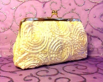 Cream,Beige ,Rose Design Clutch, Evening Bag 8 x 5 x 2 in Gold Tone Frame