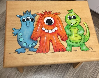 Monster Step Stool, Kids Stool, Monster Stool, Personalized Stool, Gofts for Kids, Baby Shower, Monsters