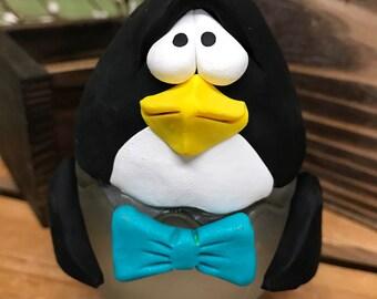 Penguin Candle, Candle Holder, Penguin Candle Holder, Penguin Home Decor