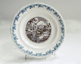 French Antique Longwy Black Transferware Plate fishes and Fishermen 3 c1880 (v838)