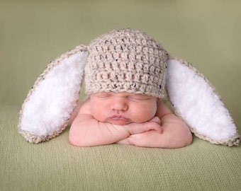 Bunny outfit ,hat and diaper cover with fluffy tail , Rabbit Ears  Photo Prop baby bunny oufit Easter   Hat only or set newborn bunny set