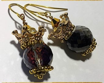 Gold Crown and Crystal Earrings