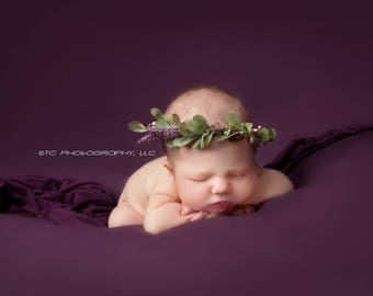 Halo Wreath Woodsy headband, NB to 3 Months,  photography prop