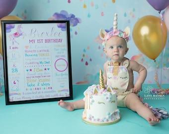 Unicorn 1st Birthday Chalkboard Sign, Magical Chalkboard Sign, Milestone Sign, Printable Stats Sign, 1st Birthday Custom Board
