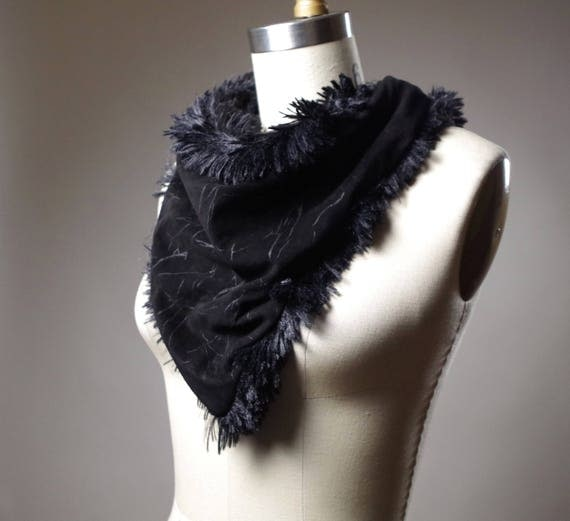 Black Suede Neck Warmer - Fluffy Leather Neck Warmer - Leather Neck Warmer - Fluffy Scarf