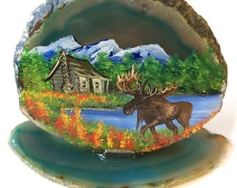 Hand Painted Brazilian Agate Mountain Summer Cabin and Moose