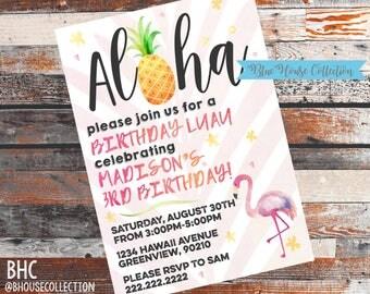 Hawaiian Birthday Party Invitation. Luau Birthday Invitation. Hawaiian Party Invite. Luau Party Invite. Hawaiian Party. Luau Party.