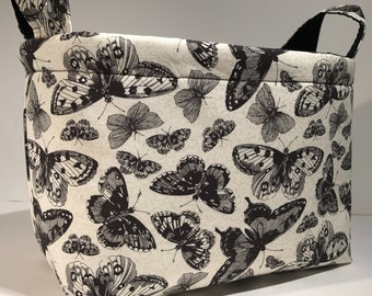 Fabric Storage Basket Organizer Bin Storage Container-Sketchbook Butterflies on Natural with Black Interior