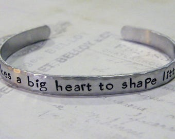 It Takes A Big Heart To Shape Little Minds Hand Stamped Aluminum Cuff Bracelet, Teacher's Gift, Teacher Appreciation