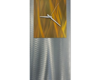 Gold/Silver Clock 'Orange Studio Clock' by Nate Halley - Modern Wall Decor Metal Art Clock on Ground and Colored Aluminum