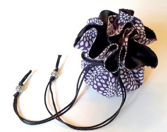 Travel Jewelry Organizer / Jewelry Drawstring Pouch / Purple and White Design with Black Bridal Satin