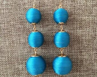 BUBBLE DROP Earrings in Sparkling Turquiose Blue Bridesmaid Gift Wedding Jewelry Silk Earrings Bridesmaid Wedding Bon Bon Earrings