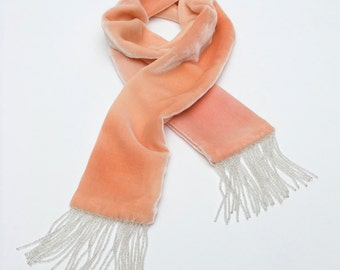 """Velvet scarf, soft pink narrow with beaded 1920's 'flapper' style trim 50"""" x 3.5"""" (1m27 x 9cm), READY TO SHIP"""