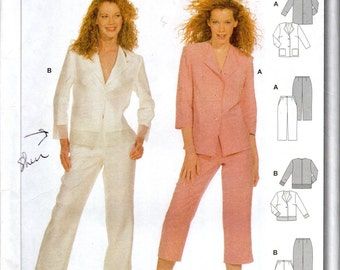 "Easy Women's Pantsuit, Pants and Jacket Pattern- Size 8, 10, 12, 14, 16, 18, Bust 31 1/2"" to 39 1/2"" - Burda 8619 uncut"